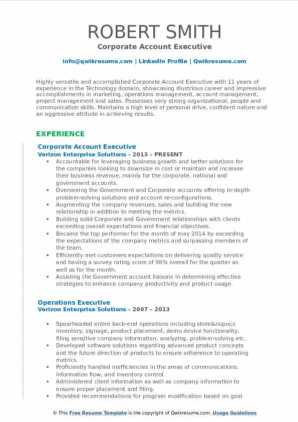 Corporate Account Executive Resume Model