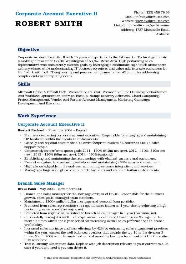 Corporate Account Executive II Resume Template