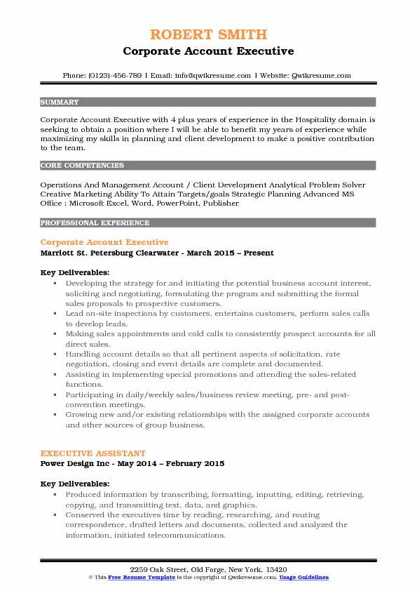 Corporate Account Executive Resume Format