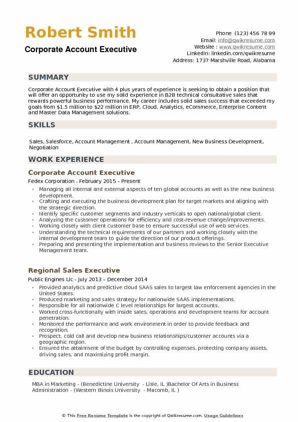 Corporate Account Executive Resume example