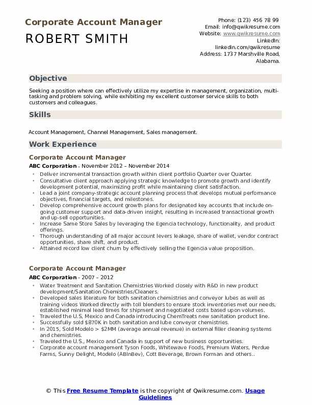 Corporate Account Manager Resume Model