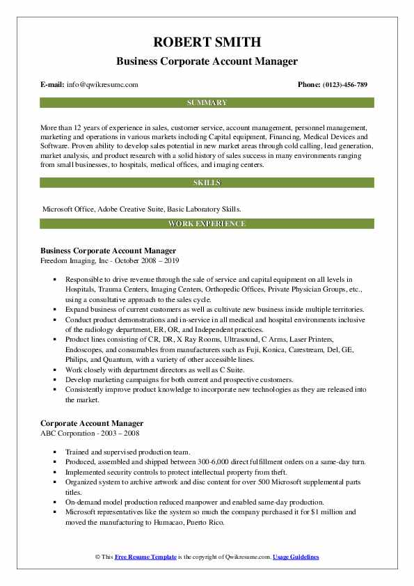 Business Corporate Account Manager Resume Format
