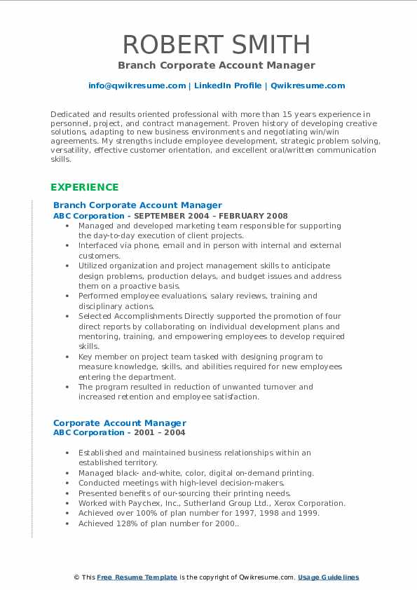 Branch Corporate Account Manager Resume Template