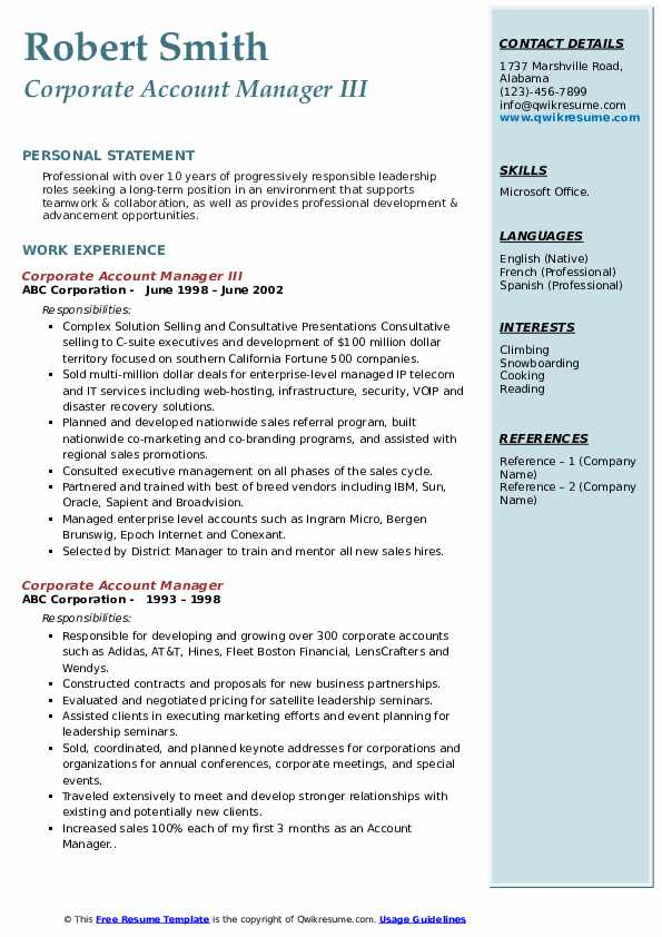 Corporate Account Manager III Resume Sample