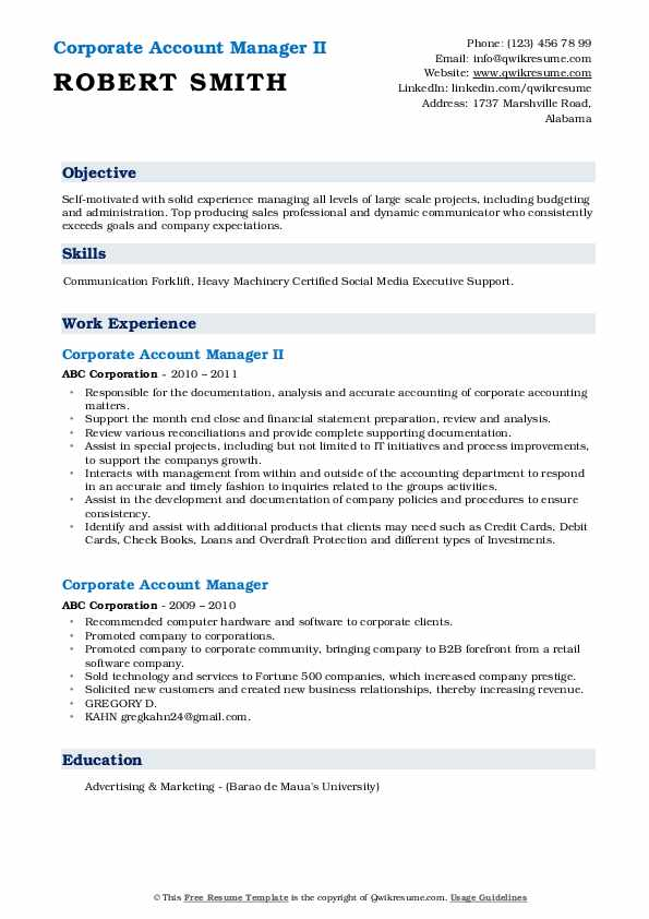 Corporate Account Manager II Resume Format