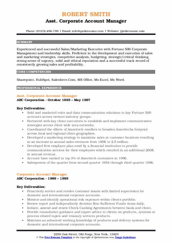 Asst. Corporate Account Manager Resume Format