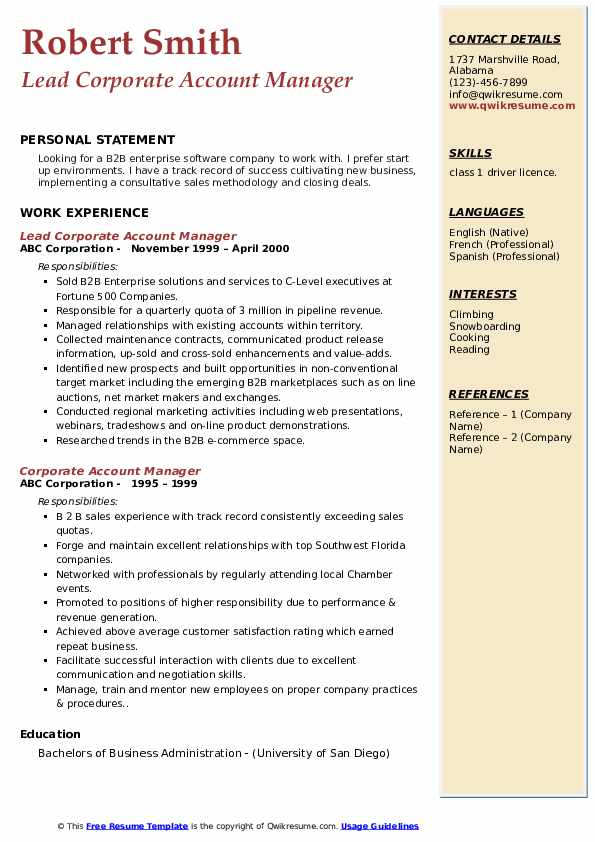 Lead Corporate Account Manager Resume Sample