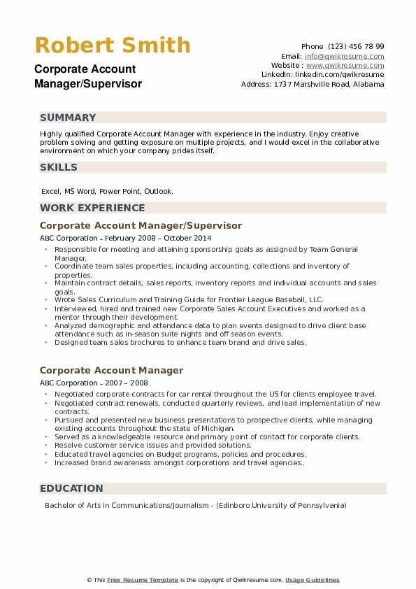 Corporate Account Manager/Supervisor Resume Model