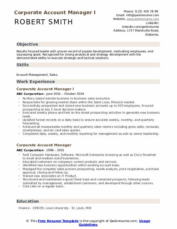 Corporate Account Manager I Resume Example