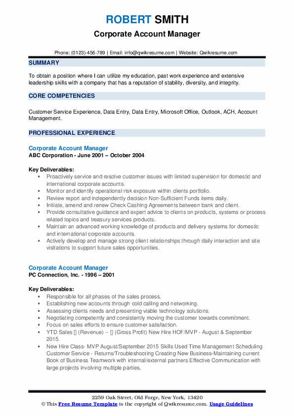 Corporate Account Manager Resume example