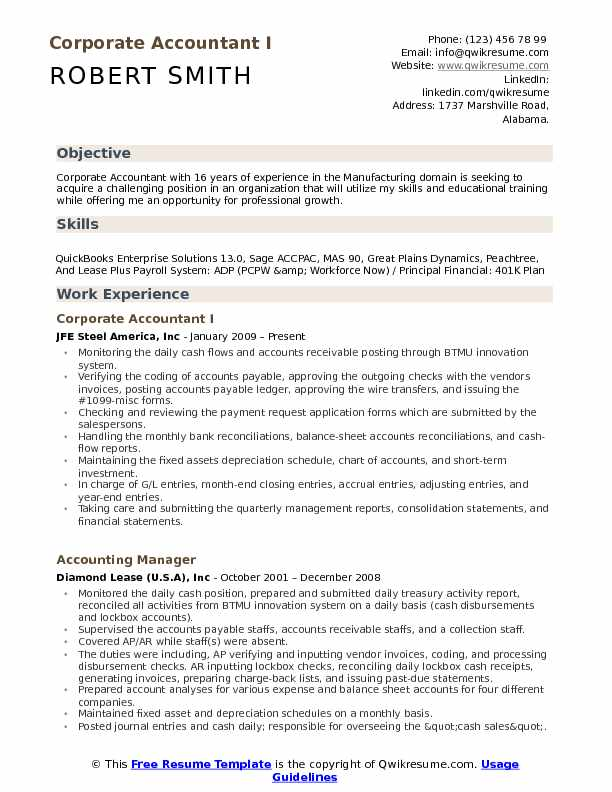 Corporate Accountant I Resume Format