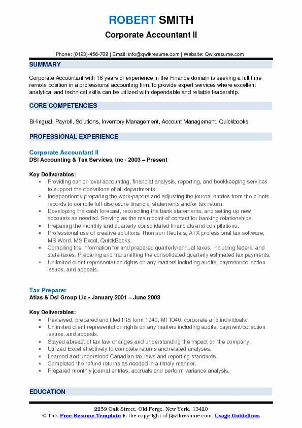 Corporate Accountant II Resume Template