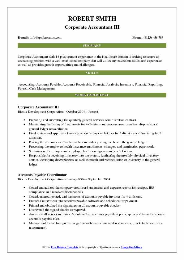 Corporate Accountant III Resume Example