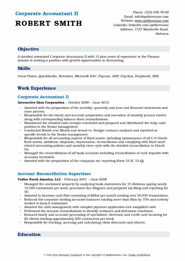 Corporate Accountant II Resume Model