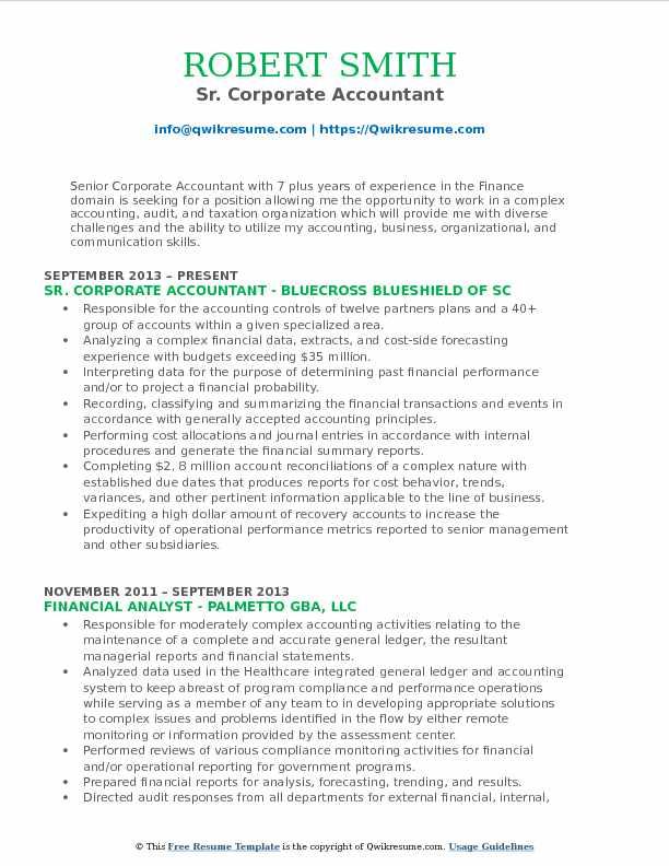 Sr. Corporate Accountant Resume Sample