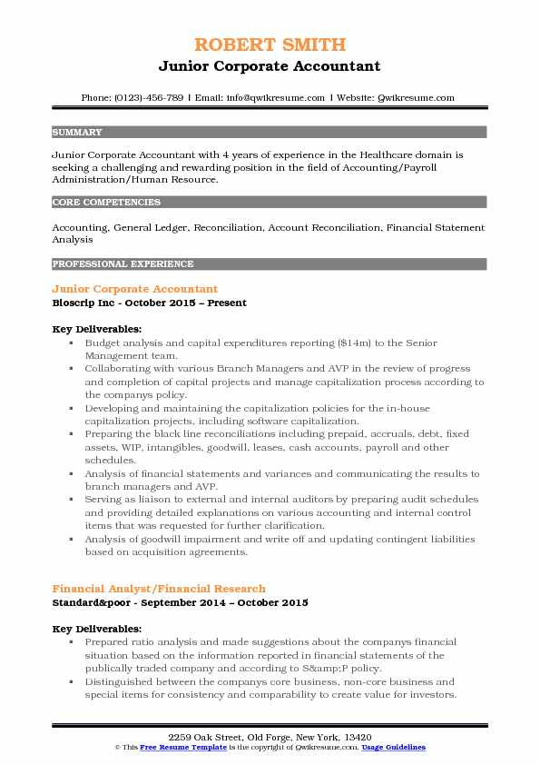 Junior Corporate Accountant Resume Template