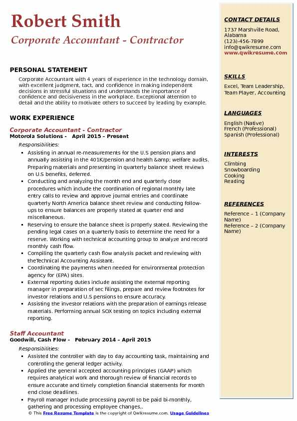 Corporate Accountant - Contractor Resume Example