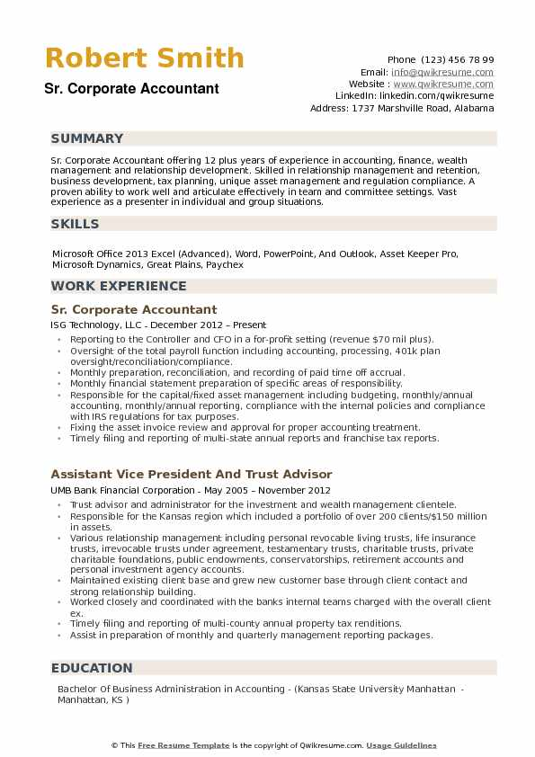 Corporate Accountant Resume example