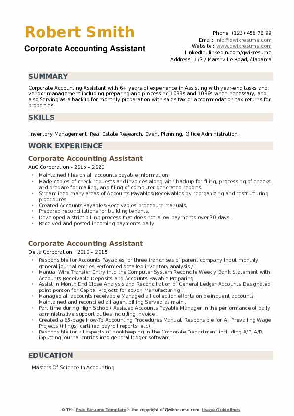 Corporate Accounting Assistant Resume example