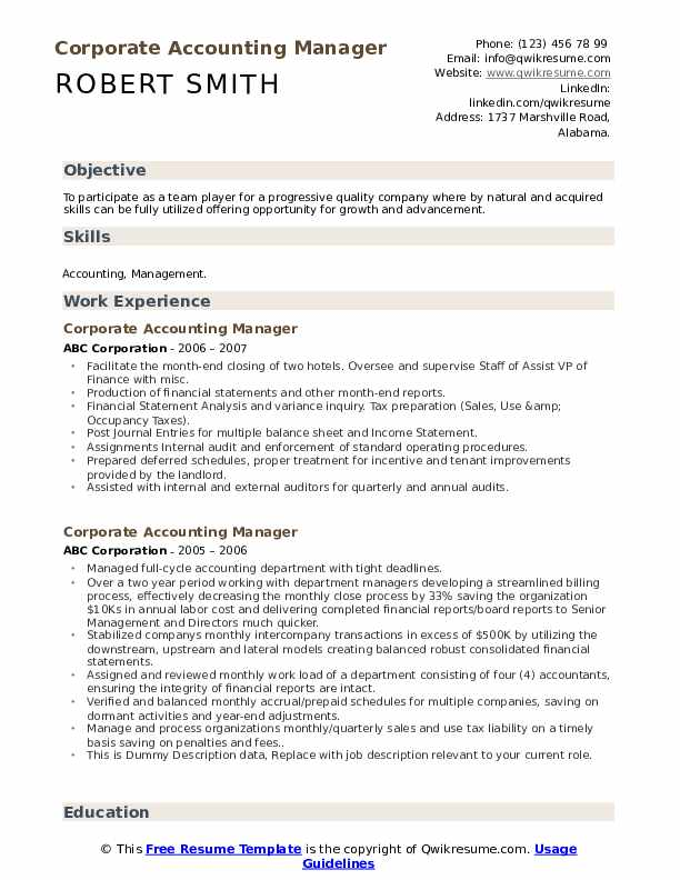 Corporate Accounting Manager Resume example