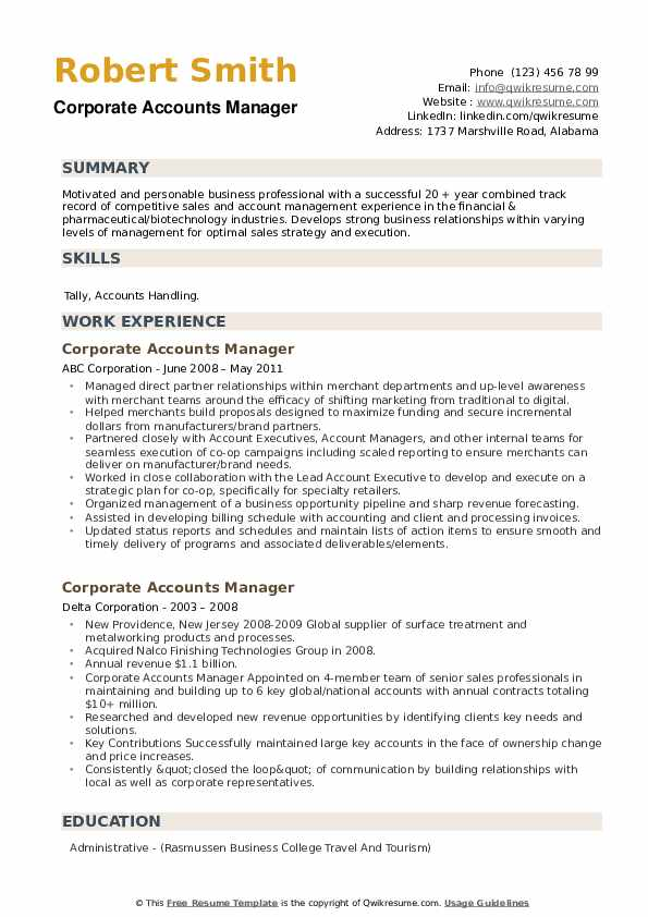 Corporate Accounts Manager Resume example