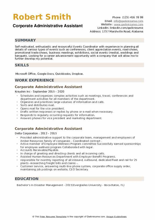 Corporate Administrative Assistant Resume example
