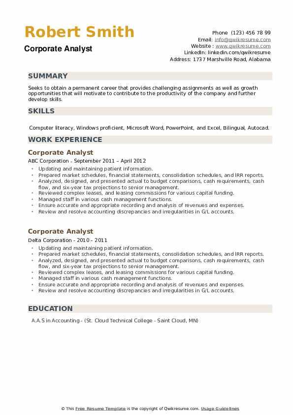 Corporate Analyst Resume example