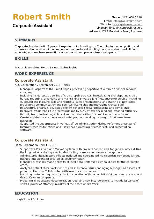 Corporate Assistant Resume example