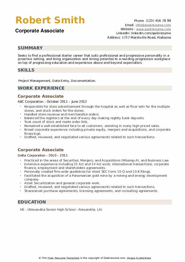 Corporate Associate Resume example