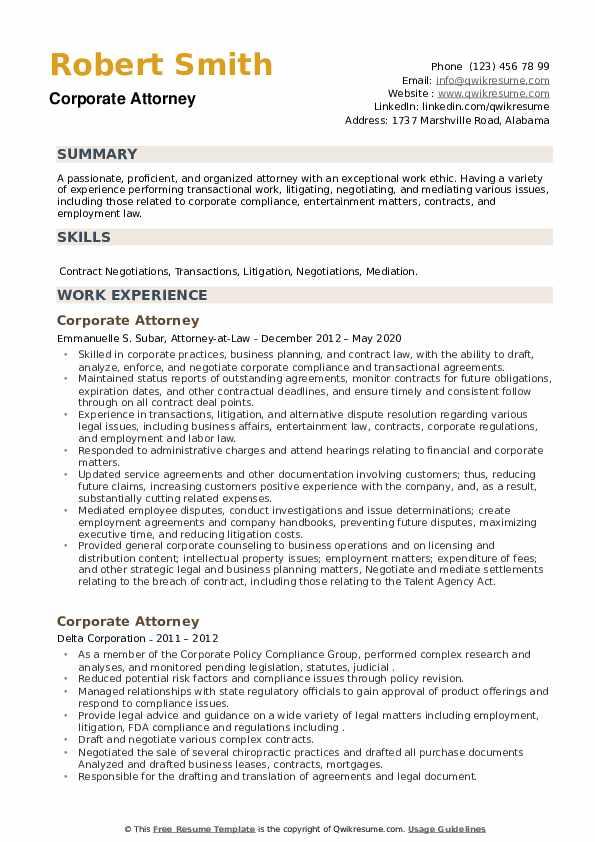 Corporate Attorney Resume example