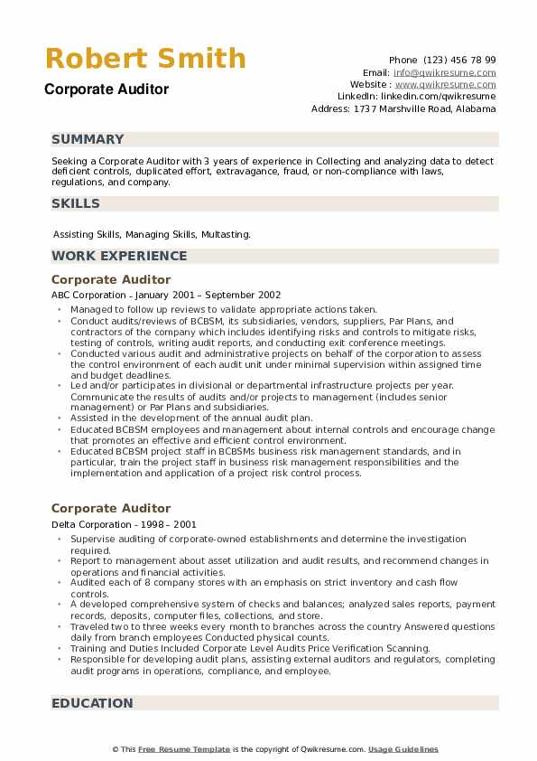 Corporate Auditor Resume example