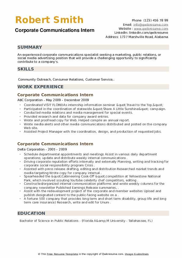 Corporate Communications Intern Resume example