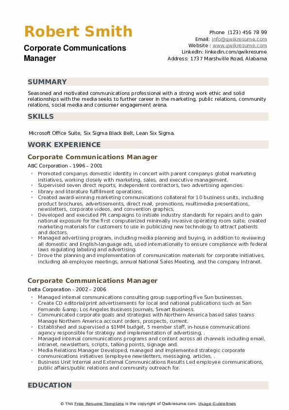 Corporate Communications Manager Resume example