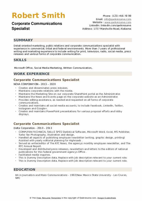 Corporate Communications Specialist Resume example