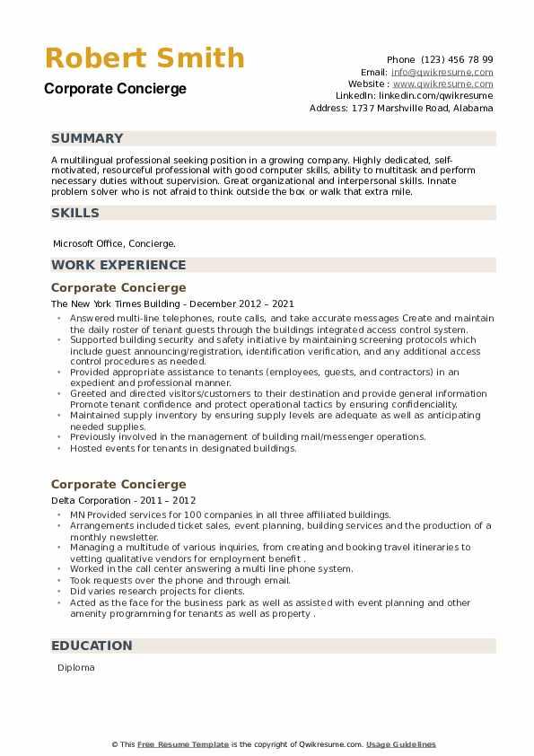 Corporate Concierge Resume example