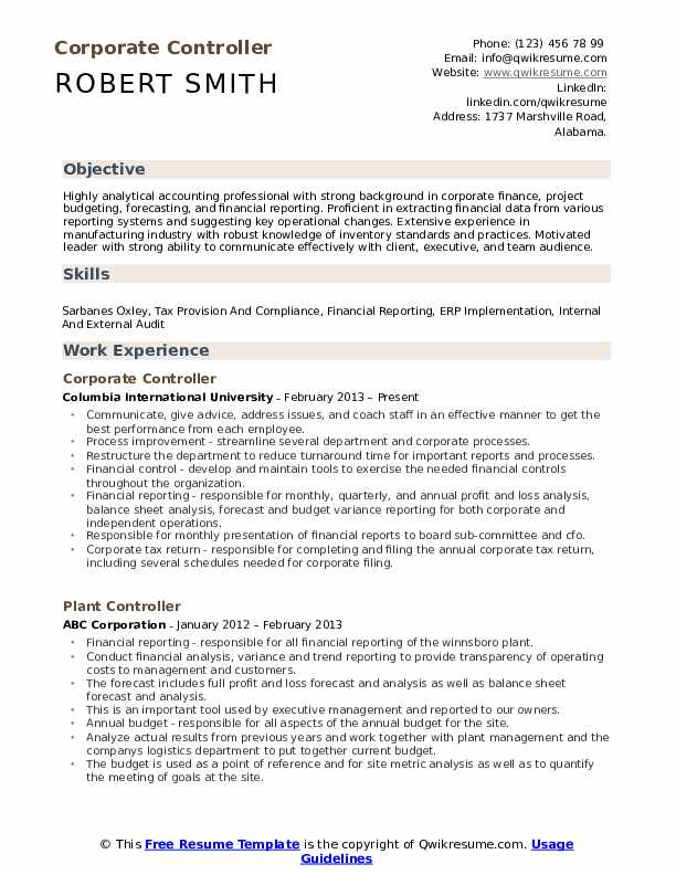 Corporate Controller Resume Model