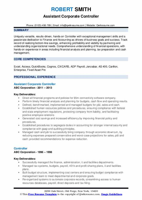 Assistant Corporate Controller Resume Format