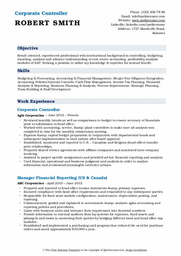 Corporate Controller Resume Format