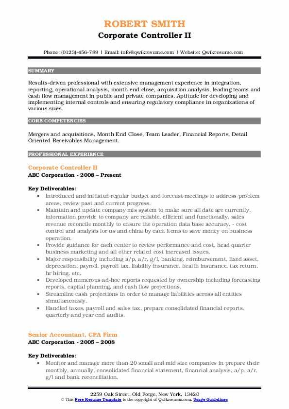 Corporate Controller II Resume Model