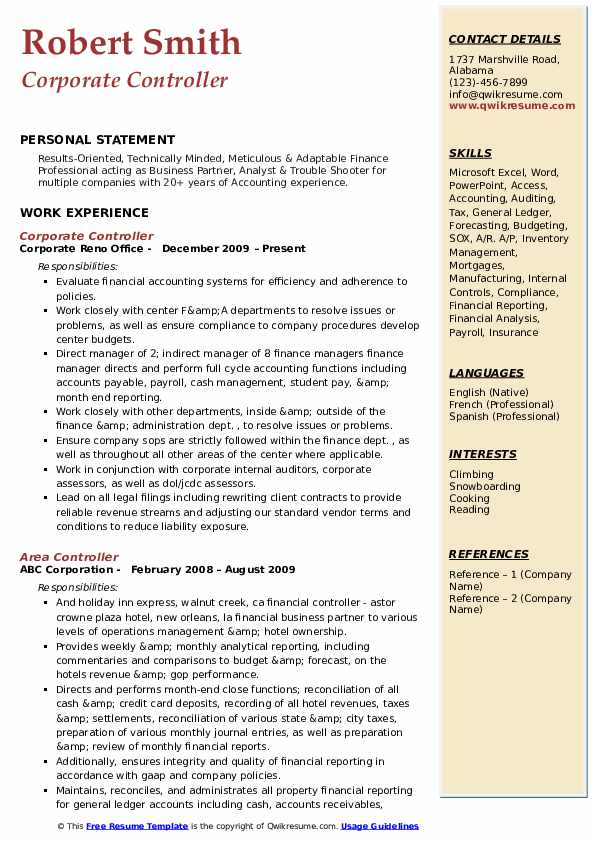 Corporate Controller Resume Samples Qwikresume