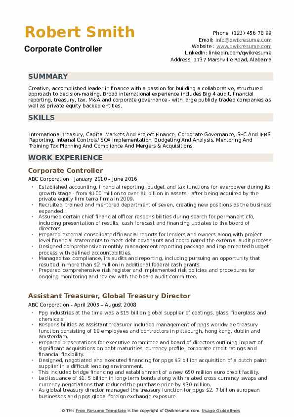 Corporate Controller Resume example