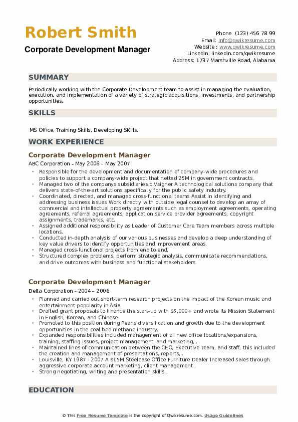 Corporate Development Manager Resume example