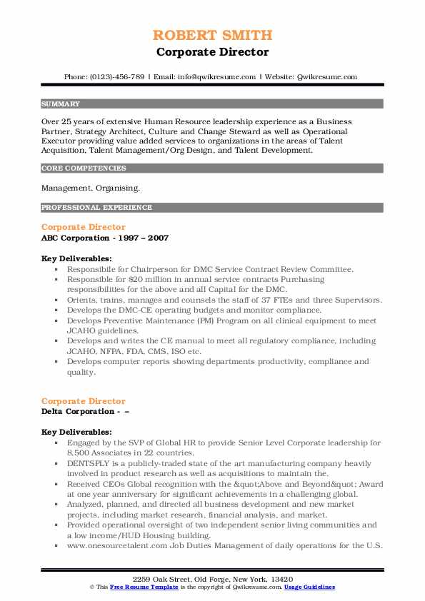 Corporate Director Resume example