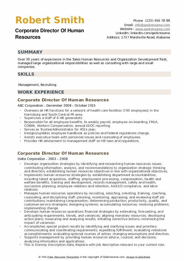 corporate director of human resources resume samples