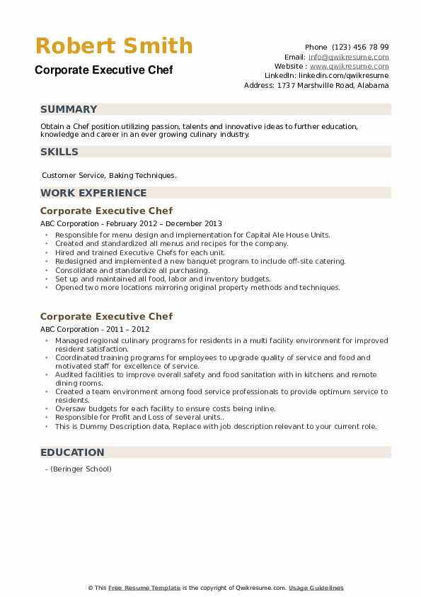 Corporate Executive Chef Resume example