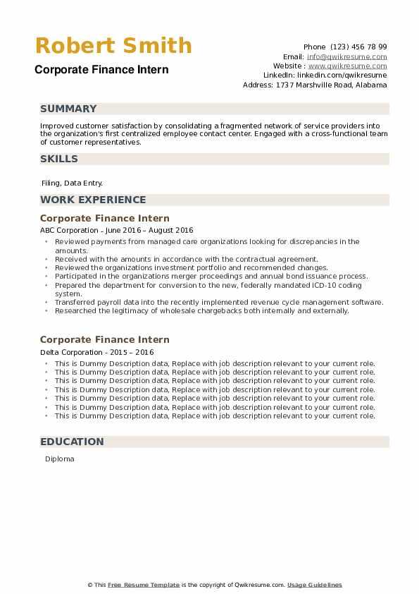 Corporate Finance Intern Resume example
