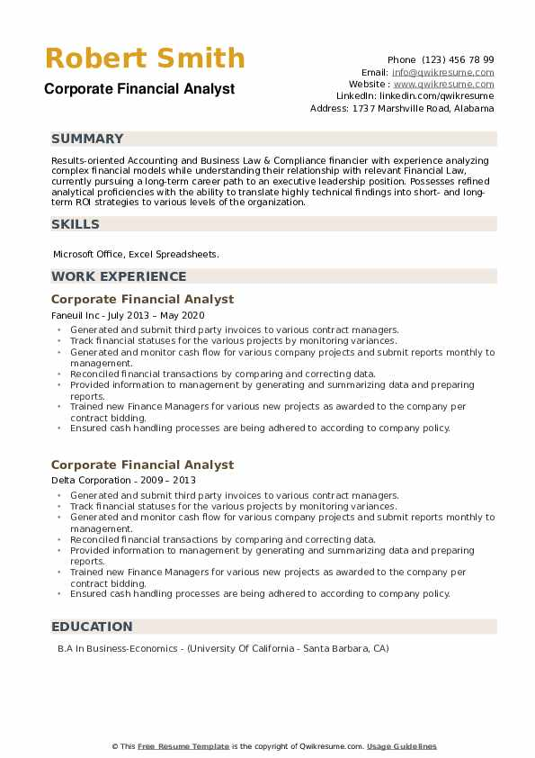 Corporate Financial Analyst Resume example