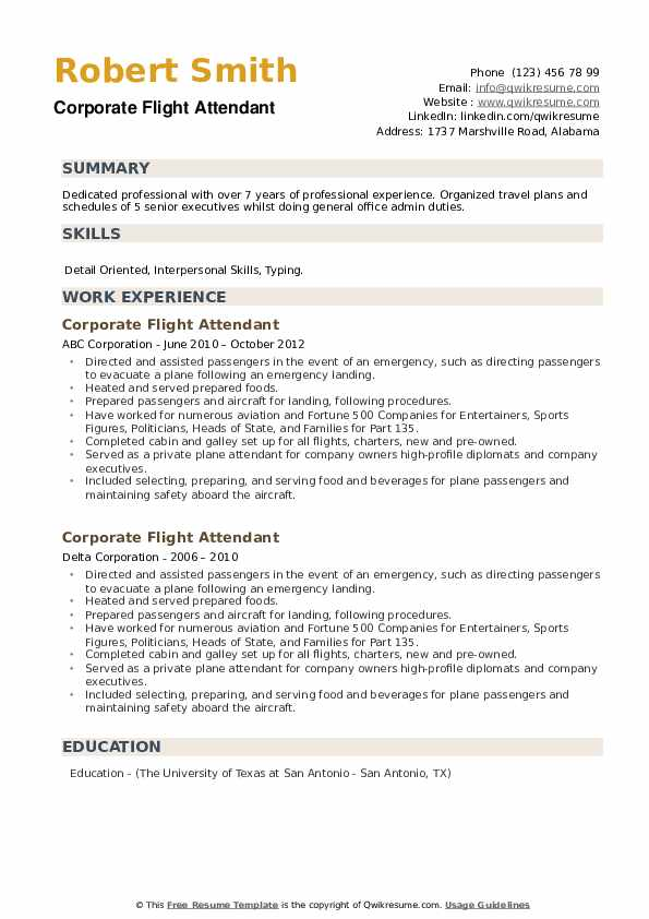 Corporate Flight Attendant Resume example