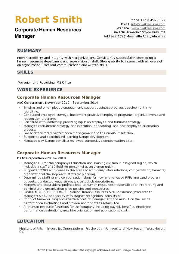 Corporate Human Resources Manager Resume example