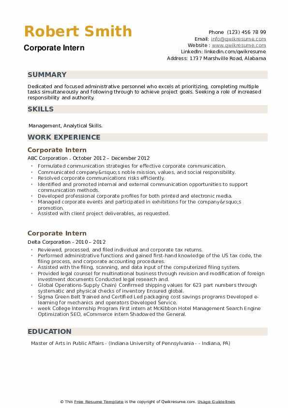 Corporate Intern Resume example